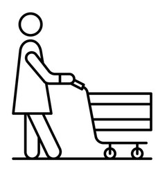 senior woman shop cart icon outline style vector image