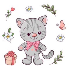 Set little kitty and flowers hand drawing vector