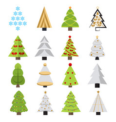 set of different christmas trees can be used for vector image