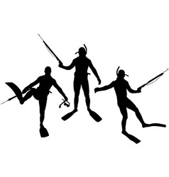 Set of diver silhouettes vector