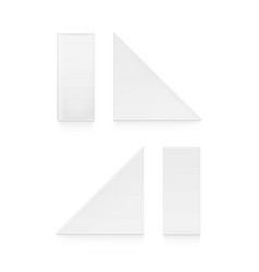 set of white blank cardboard triangle take vector image