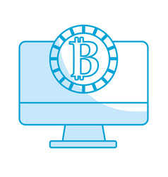 Silhouette computer technology with bitcoin vector