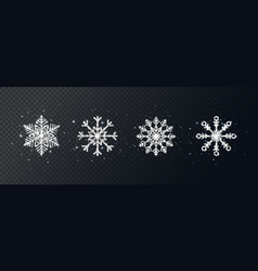 Silver glitter snowflakes set on transparent vector
