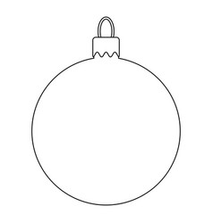simple bauble outline for christmas tree isolated vector image