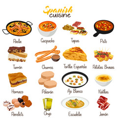 spanish food cuisine vector image