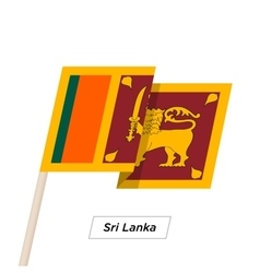 Sri Lanka Ribbon Waving Flag Isolated on White vector