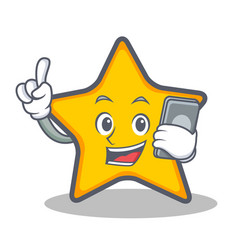 star character cartoon style with phone vector image