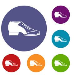 tango shoe icons set vector image
