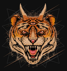 Tiger head angry face with horn and three eyes vec vector
