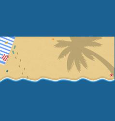 Tropical island sandy beach with towel flip flops vector