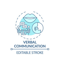 Verbal communication turquoise concept icon vector