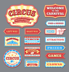 vintage circus labels and carnival signboards vector image