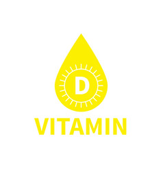 vitamin d icon sun shape capsule pill yellow drop vector image