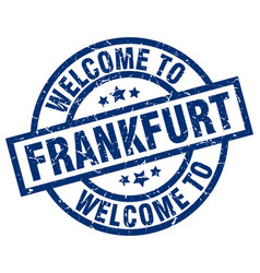 Welcome to frankfurt blue stamp vector