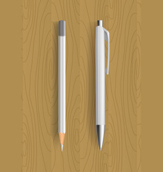 White pencil and pen on wooden table vector