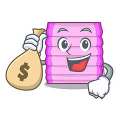 With money bag character wooden blinds with sun vector
