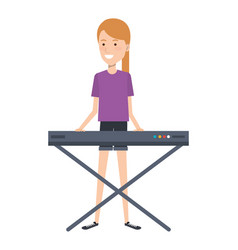 Woman playing synthesizer character vector