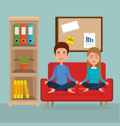 young couple practicing yoga on the sofa vector image