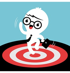 Business man jumping with target on the floor vector image