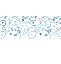 Keys line art horizontal seamless pattern vector image vector image