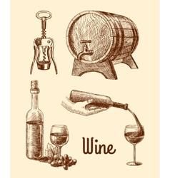 Wine sketch decorative set vector image