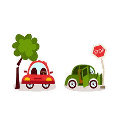 flat cartoon car accident set isolated vector image vector image