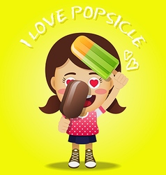 happy woman holding big frozen popsicle vector image