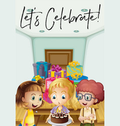 Kids at birthday party with phrase lets celebrate vector