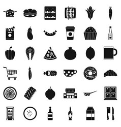 Light breakfast icons set simple style vector