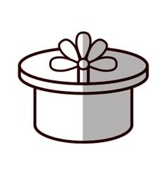 Round gift box ribbon festive shadow vector