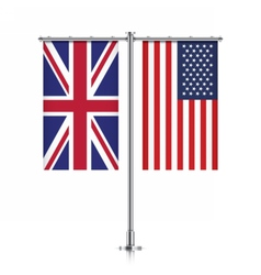 UK and USA flags hanging together vector image vector image