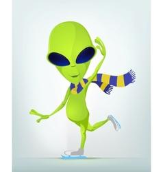 Cartoon Alien Ice Skating vector image vector image