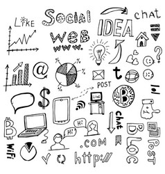 doodle social network internet connection vector image