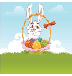 Greeting Card Bunny With Easter Eggs vector image