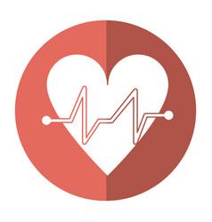 heart beat pulse cardiac medical shadow vector image