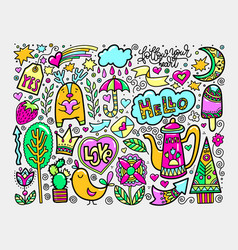 set of doodle sketch drawing nice elements in vector image vector image