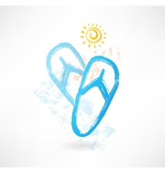 beach flip flops grunge icon vector image vector image
