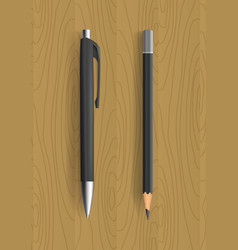 black pencil and pen on wooden table vector image