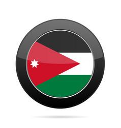 flag of jordan shiny black round button vector image vector image