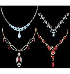 set of necklace women with precious stones vector image vector image