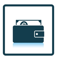 Wallet with cash icon vector image vector image