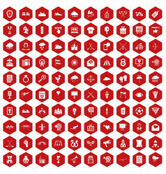 100 arrow icons hexagon red vector