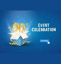 90 th years anniversary banner with open burst vector