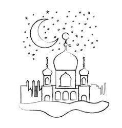 arabic castles in the night scene vector image