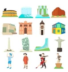 Argentina travel icons set cartoon style vector