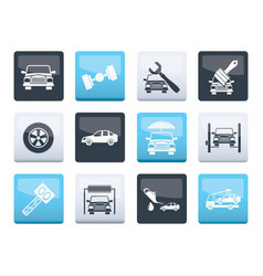 auto service and transportation icons over vector image