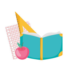 Back to school book apple paper triangle ruler vector