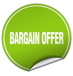 Bargain offer round green sticker isolated on vector