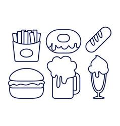 beer drink with set food vector image