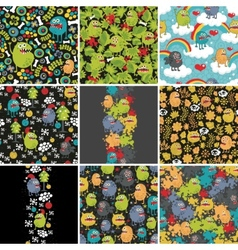 Big set of patterns with monsters vector image